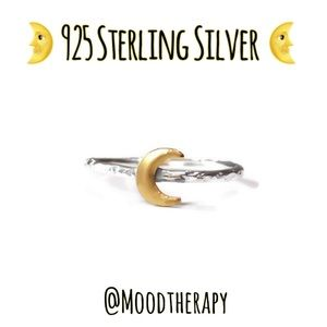 🌙 moon phase mixed metals stackable ring